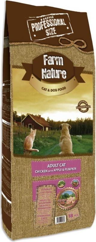 FARM NATURE Kip, appel en pompoen voor volwassen katten