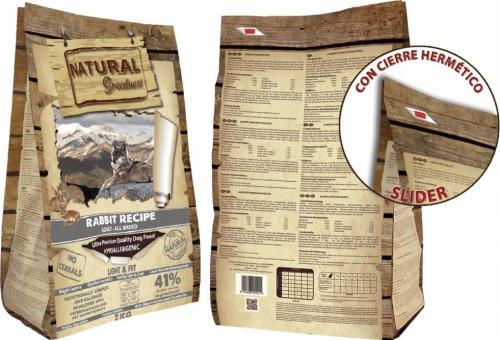 NATURAL GREATNESS Light & Fit Sin cereales con conejo Perro Adulto