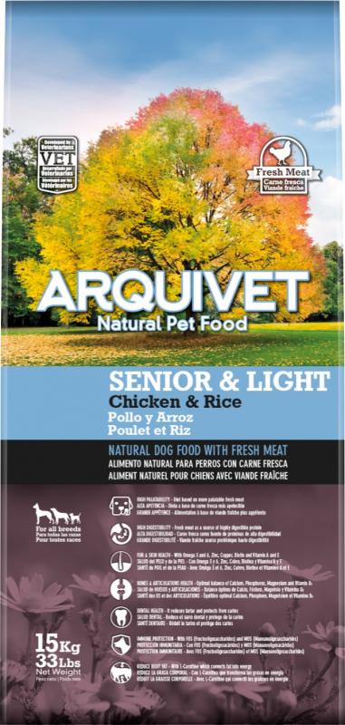 ARQUIVET Senior & Light au Poulet & riz pour Chien Senior ou en Surpoids