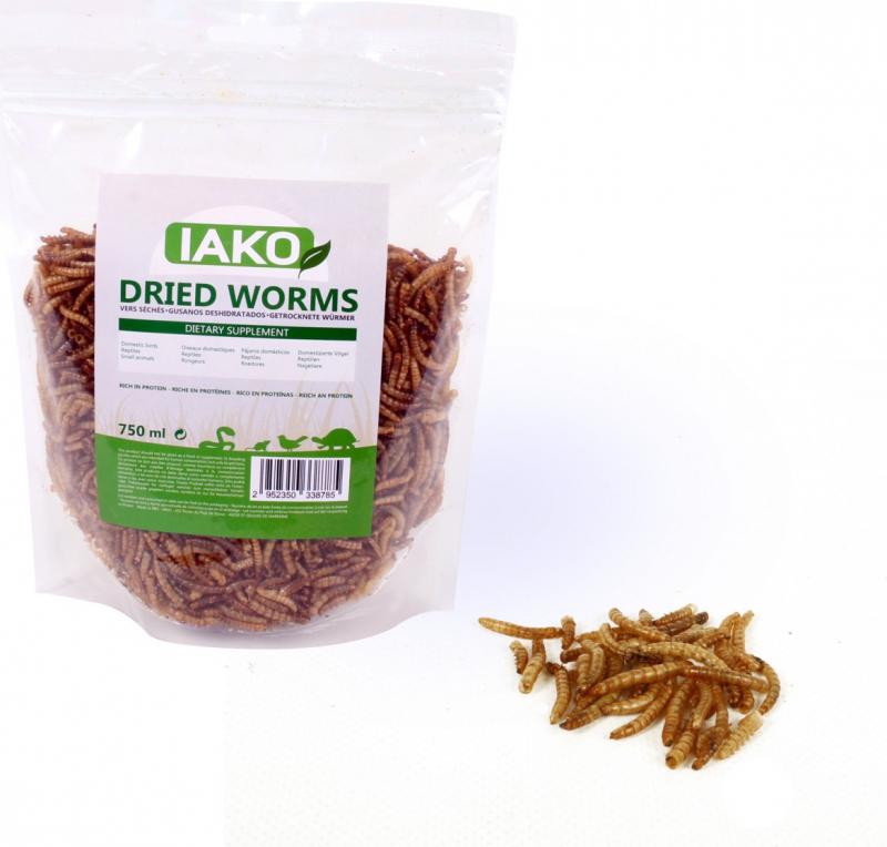 Iako natuurlijke en gedroogde meelwormen voor reptielen en vogels, 100g