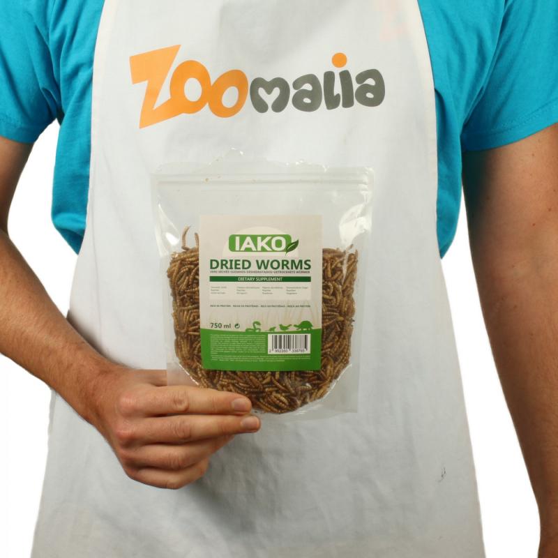 IAKO Dried Worms vers de farine séchés et naturels pour reptiles et oiseaux
