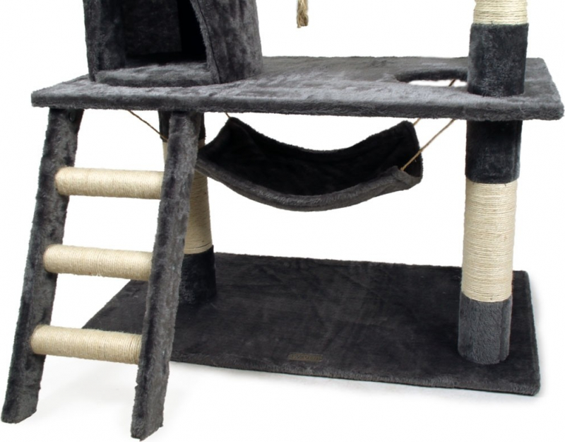Arbre à chat Zolia Alaké COMPLET : avec griffoir, sisal, corde jeu, hamacs, escalier - 145cm
