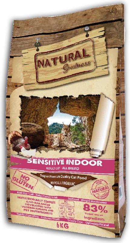 NATURAL GREATNESS Sensitive Indoor para Gatos Adultos de interior, Esterilizado ou Sénior
