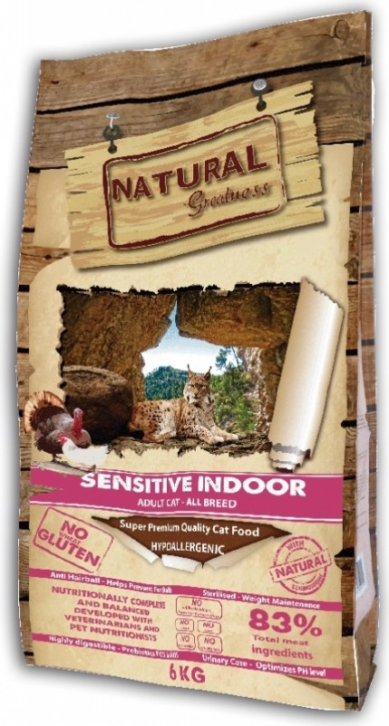 NATURAL GREATNESS Sensitive Indoor pour Chat Adulte d'intérieur, Stérilisé ou Senior