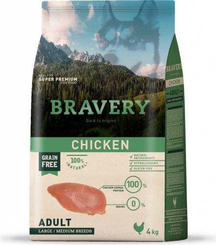 BRAVERY Adult Medium & Large Sans Céréales Poulet pour Chien de moyenne et grande taille