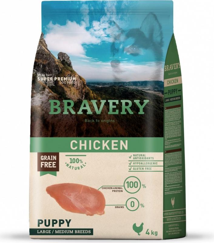 BRAVERY Puppy Medium & Large Sans Céréales Poulet pour Chiot de moyenne et grande taille