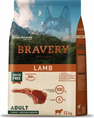 BRAVERY Adult Medium & Large Sans Céréales Agneau pour Chien de moyenne et grande taille