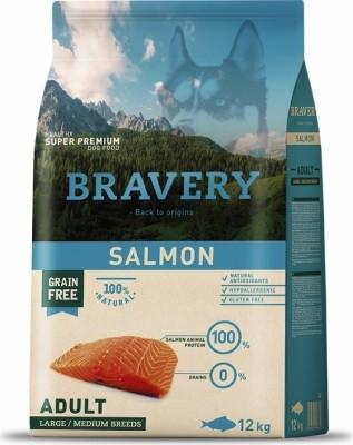BRAVERY Adult Medium & Large Sans Céréales Saumon pour Chien de moyenne et grande taille