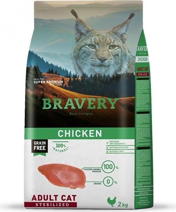 BRAVERY Sterilized Cat ohne Getreide mit Hühnchen für Katzen