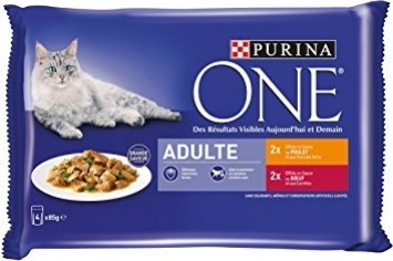 Pack de 4 Pâtées PURINA One Poulet & Boeuf pour Chat Adulte