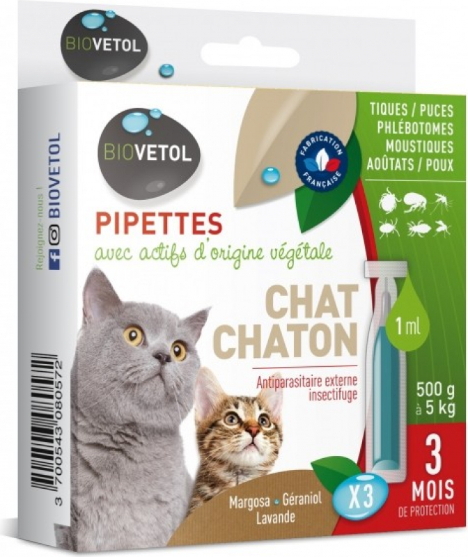 Pipettes antiparasitaires pour chats ou chatons