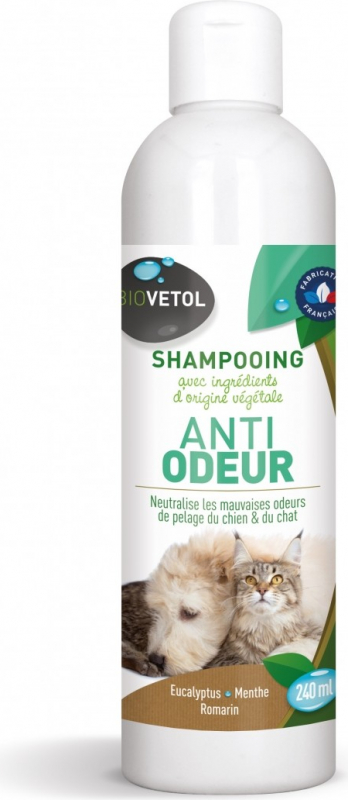 Shampoing Anti-odeurs Biovetol pour chiens et chats