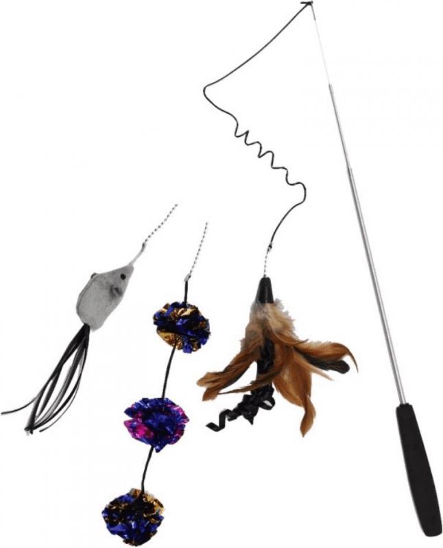 Canna da pesca telescopica per gatti con set da 3 giocattoli