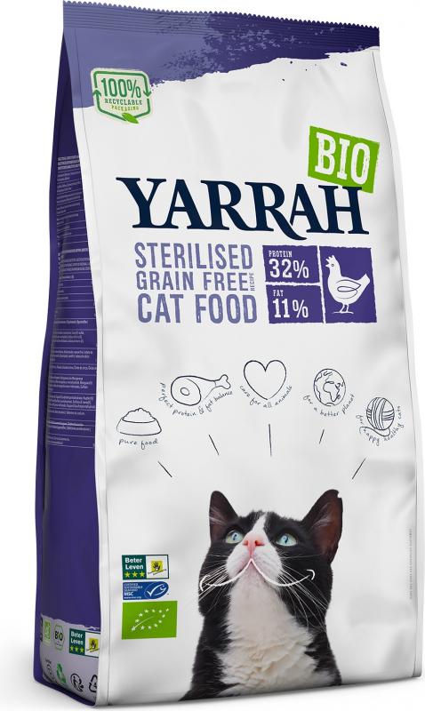 YARRAH Bio Sterilised au Poulet Sans Céréales pour Chat Adulte Stérilisé