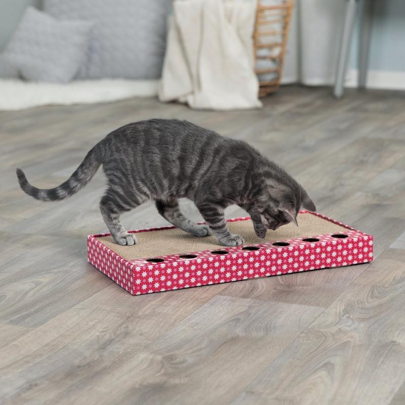 Plaque griffoir avec jouet pour chat
