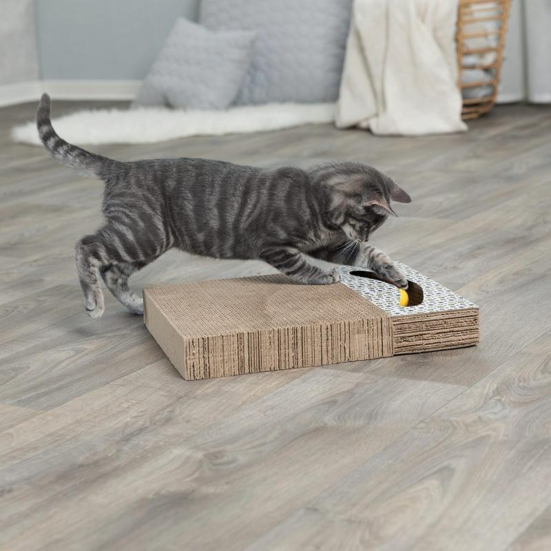 Plaque griffoir pour chat en carton avec jouet