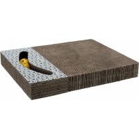 Plaque griffoir pour chat en carton avec jouet blanc