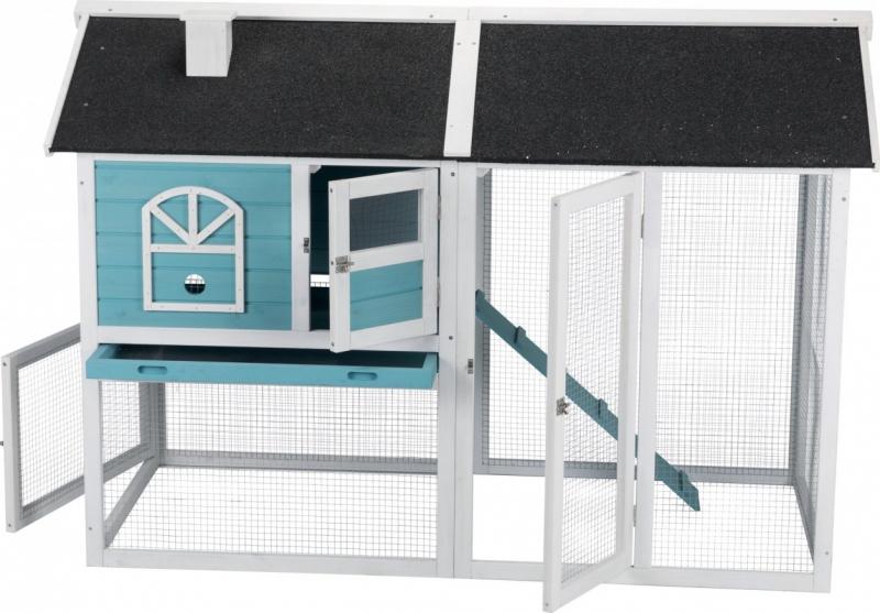 Clapier à 2 étages avec cour extérieure pour rongeurs