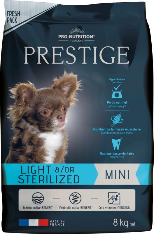 PRO-NUTRITION Flatazor PRESTIGE Mini Light & Sterilized pour Chien Adulte de Petite Taille Stérilisé ou en Surpoids