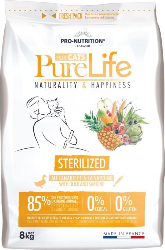 PRO-NUTRITION Flatazor Pure Life Senza Cereali per Gatti Adulti Sterilizzati