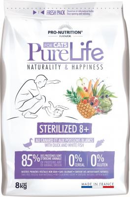 PRO-NUTRITION Flatazor Pure Life Sans Céréales Sterilized 8+ pour Chat Senior Stérilisé