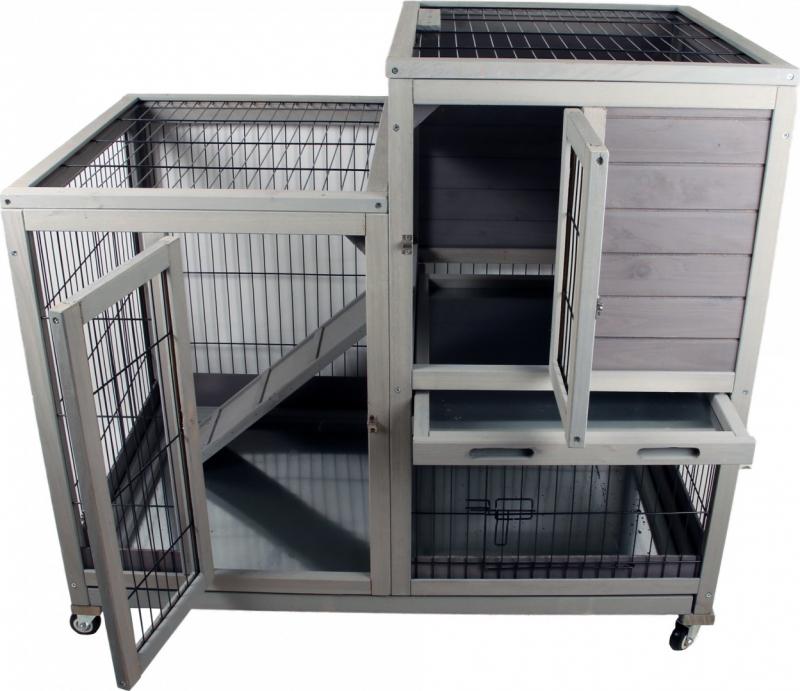 Clapier d'intérieur en bois pour lapins ou cochons d'inde Zolia Keops - 100cm