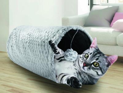 Tunnel peluche à bruissement pour chat - Plusieurs couleurs