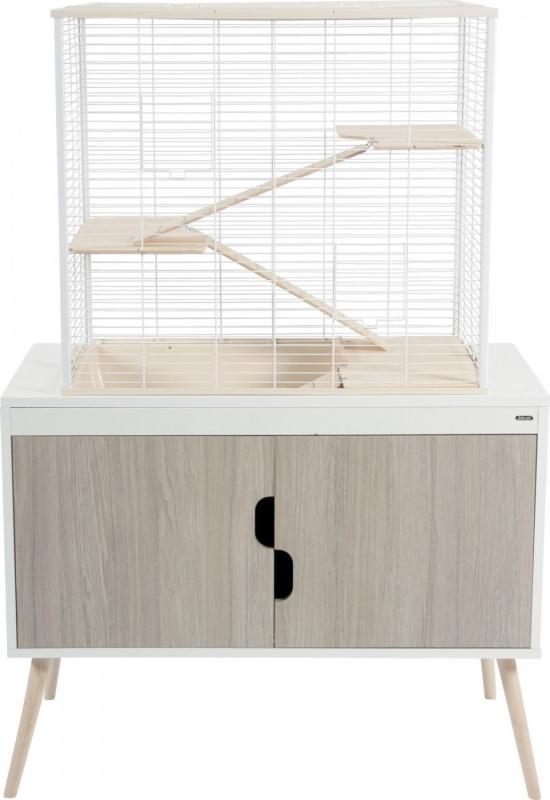 Meuble support pour cage rongeur NEVO et NEO, Blanc Zébrano, 78 et 98cm