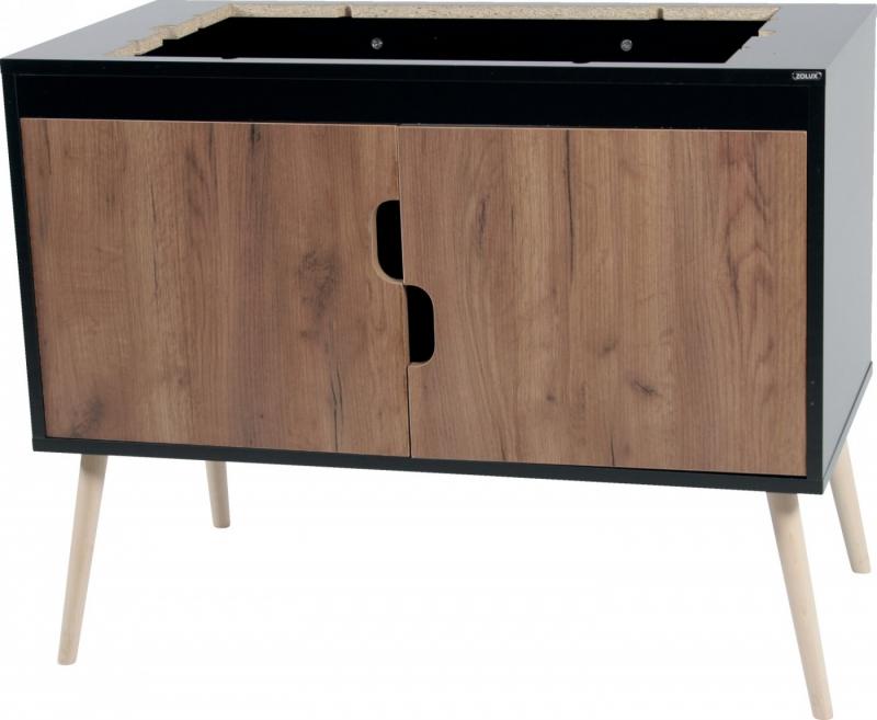 Meuble support pour cage rongeur NEVO et NEO, Noir / Noyer, 78 et 98cm