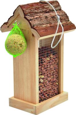 Comedero Inga con techo de corteza para pájaros silvestres