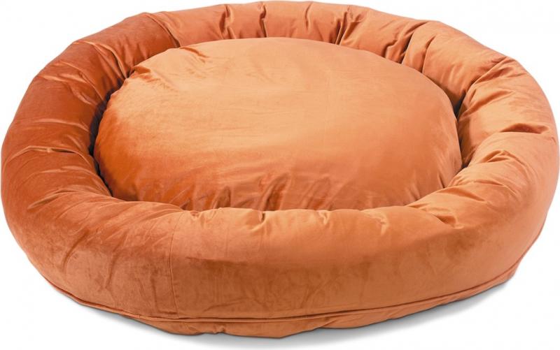 Hundekorb Donut Velvetti 60 und 110cm in grün orange
