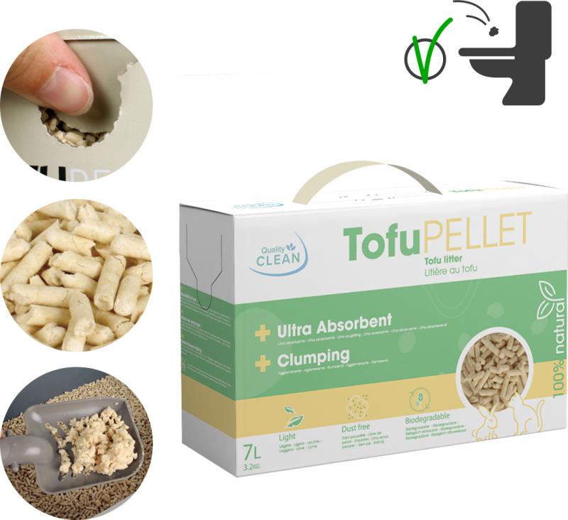 Litière végétale agglomérante TofuPellets Quality Clean - 7L
