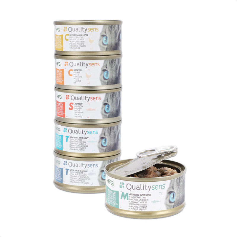 QUALITY SENS HFG Multipack - Mix de 6 recettes - Pâtées en bouillon 100% Naturelles pour Chat & Chaton