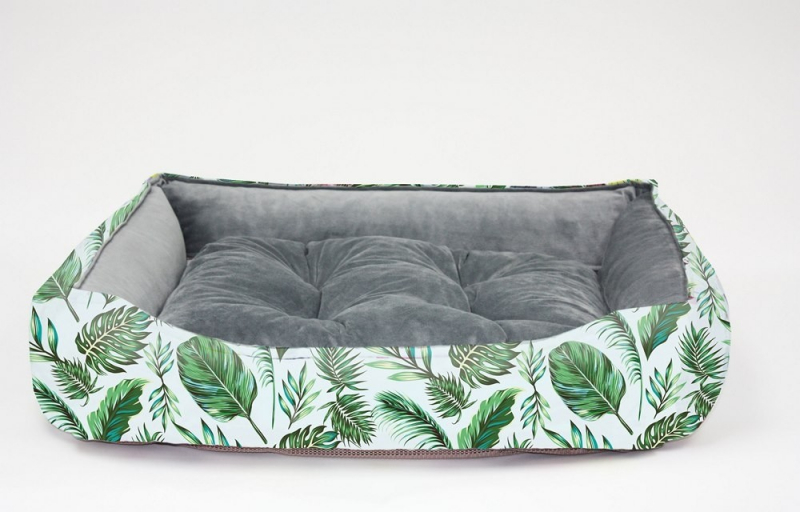 BE ONE BREED weicher Hundekorb mit Memory Foam - Motiv Palmen