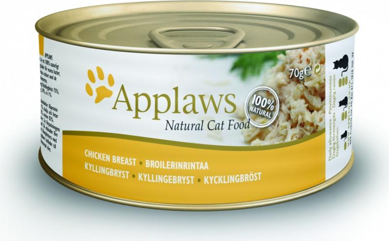 APPLAWS PACK de 36 Boîtes 70g en bouillon pour chat adulte - 2 saveurs