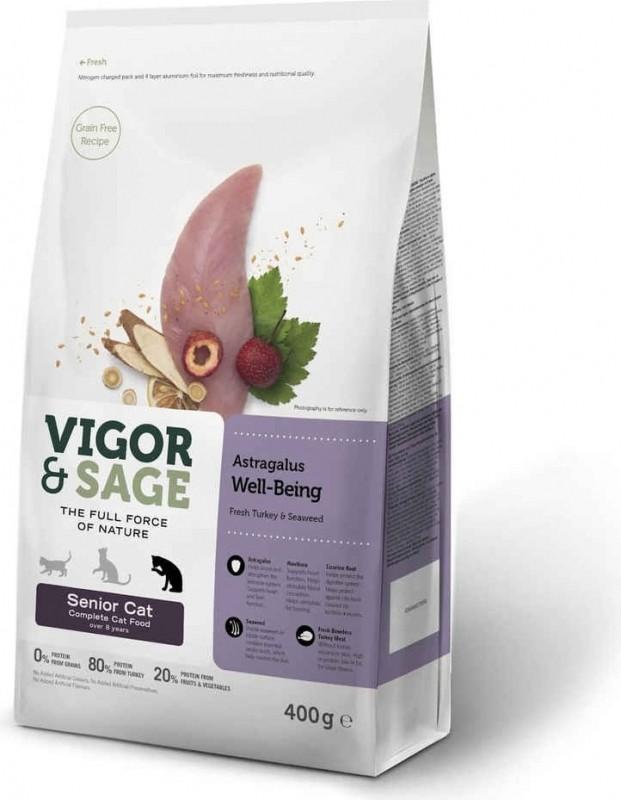 Vigor & Sage à la Dinde Fraîche & Astragale Sans Céréales pour Chat Senior