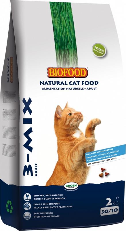 BIOFOOD Croquettes 3-MIX 100% Naturelles pour Chat Adulte
