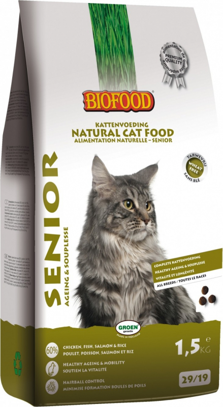 BIOFOOD Senior Cat Croquettes 100% Naturelles pour Chat Senior