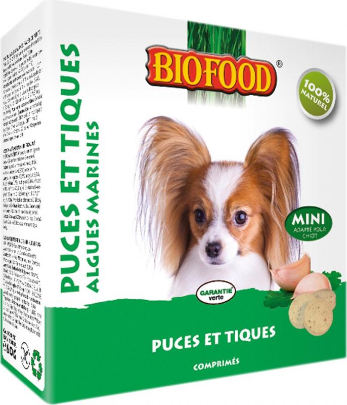 BIOFOOD Chien Comprimés 100% Naturels Anti Puces & Tiques - 2 saveurs