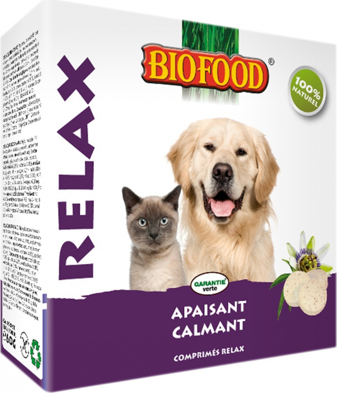BIOFOOD Compresse rilassanti naturali al 100% per cani e gatti