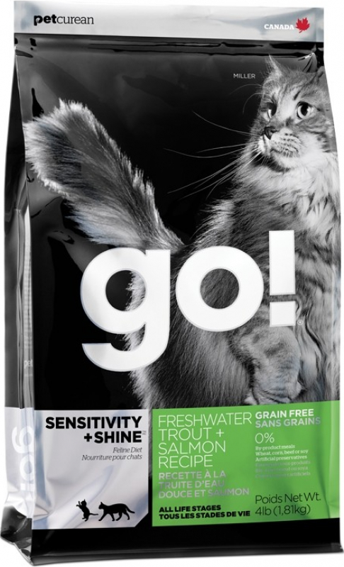 PETCUREAN GO! Cat Sensitivity + Shine Sans Céréales à la Truite pour Chat et Chaton