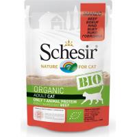 SCHESIR Pâtée Bio Sans Céréales 85gr pour Chat Adulte et Chaton - 4 Saveurs au Choix