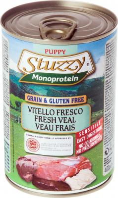 Pâtée Sans Céréales STUZZY Monoprotein 400 g au Veau frais pour Chiot
