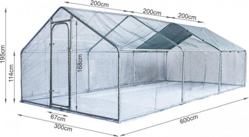Gran cercado/parque para gallinas Zolia de metal - 6m², 12m² ó 18m²