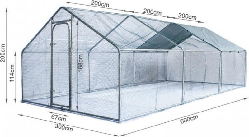 Grande recinzione per galline Zolia in metallo - 6m², 12m² ou 18m²