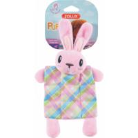 Juguete de estimulación para cachorro, conejo de peluche y manta, con sonido, rosa