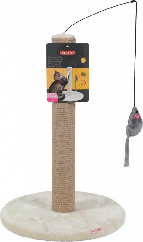 Poteau à griffer beige avec souris suspendue - plusieurs tailles