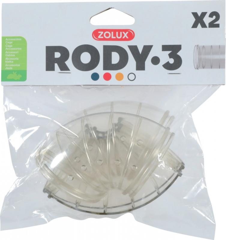 2 tubes coudés pour cage Rody3 gris transparent