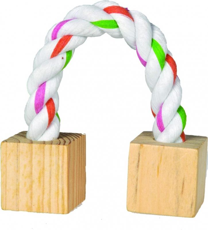 Jouet pour rongeurs Blocs en bois avec corde