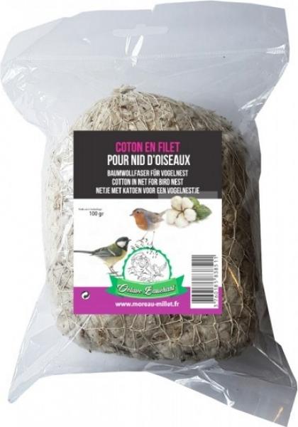 Ninho de algodão atado com rede para pássaros